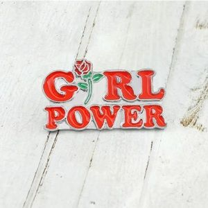 Girl Power with Rose Women Feminist Brooch Pin